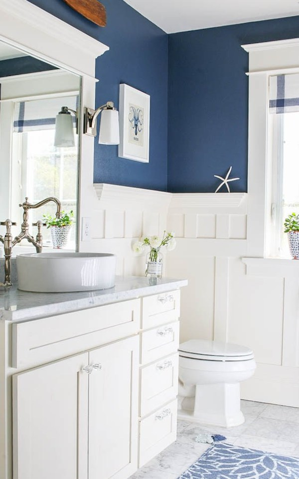 White and Blue Bathroom Reveal from  Saw Nail and Paint