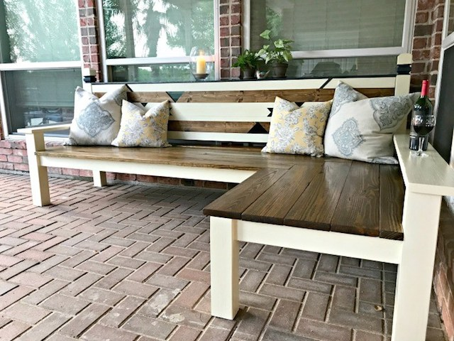 L-Shaped Outdoor Bench from  Abbotts at Home