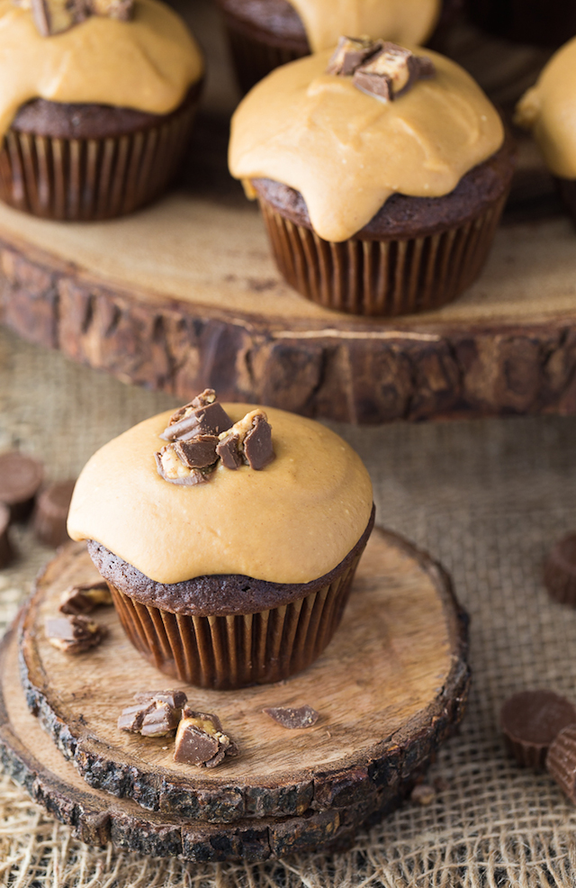 Reece's Peanut Butter Cupcakes from  Simply Stacie