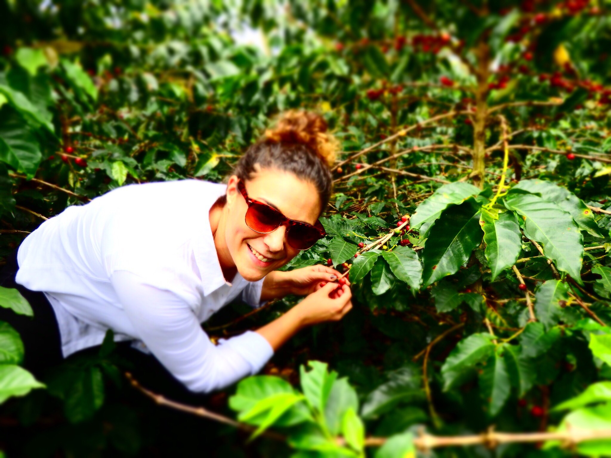 Alyza Bohbot at a coffee bean farm in Colombia.