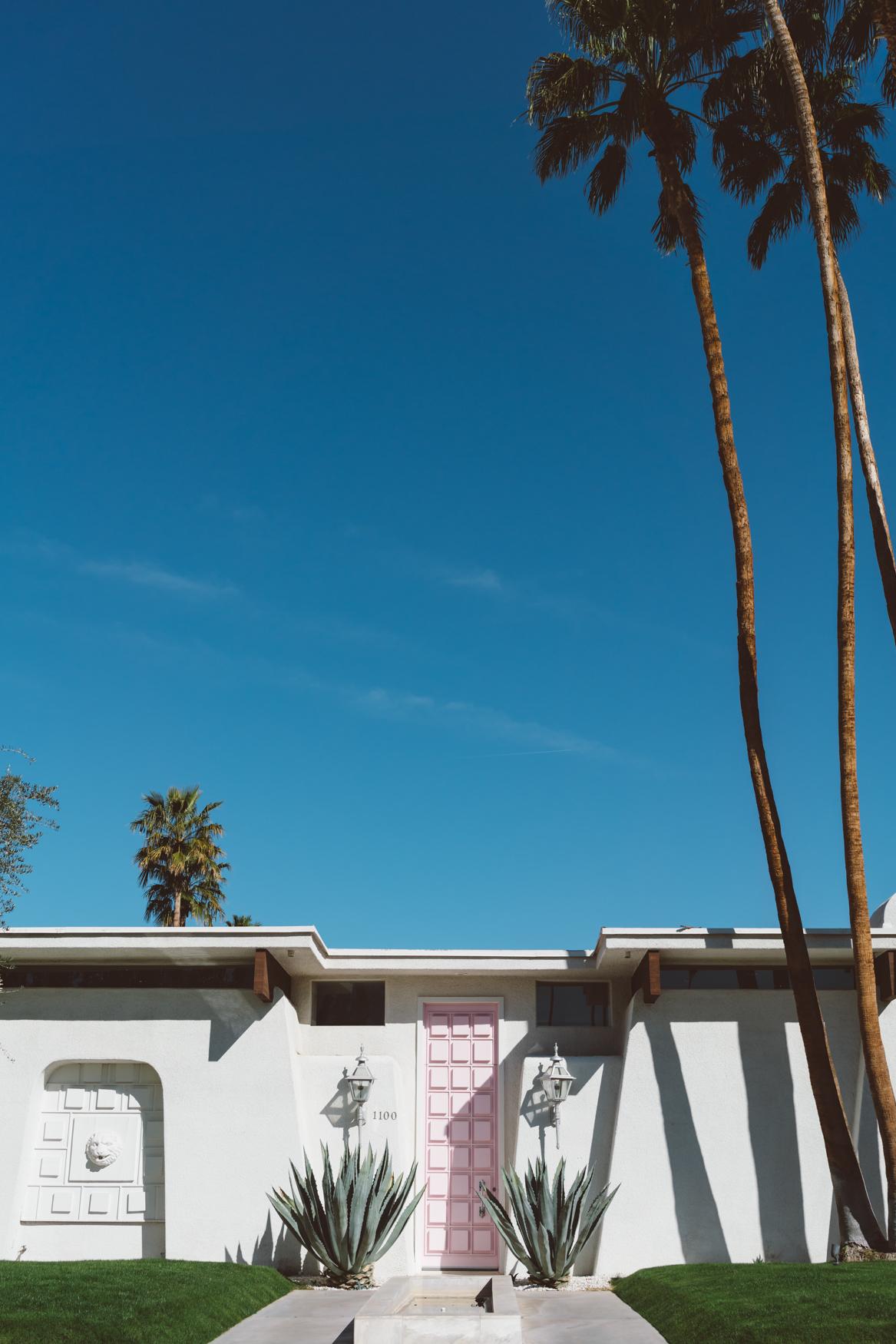 Pink door house in Palm Springs, California
