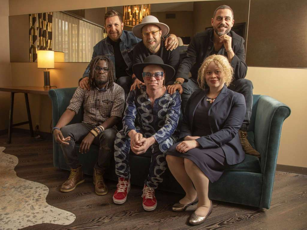 April 29, 2019 - Front row from left: Clem Kwizombe (Filmmaker/Interpreter), Lazarus Chigwandali, Ikponwosa Ero, (the United Nations Independent Expert on the enjoyment of human rights by persons with albinism); Back row from left: David Darg (Director), Johan Hugo  (Album Producer) and Bryn Mooser (Film Producer). (Photo by Andy Kropa/Invision/Associated Press).