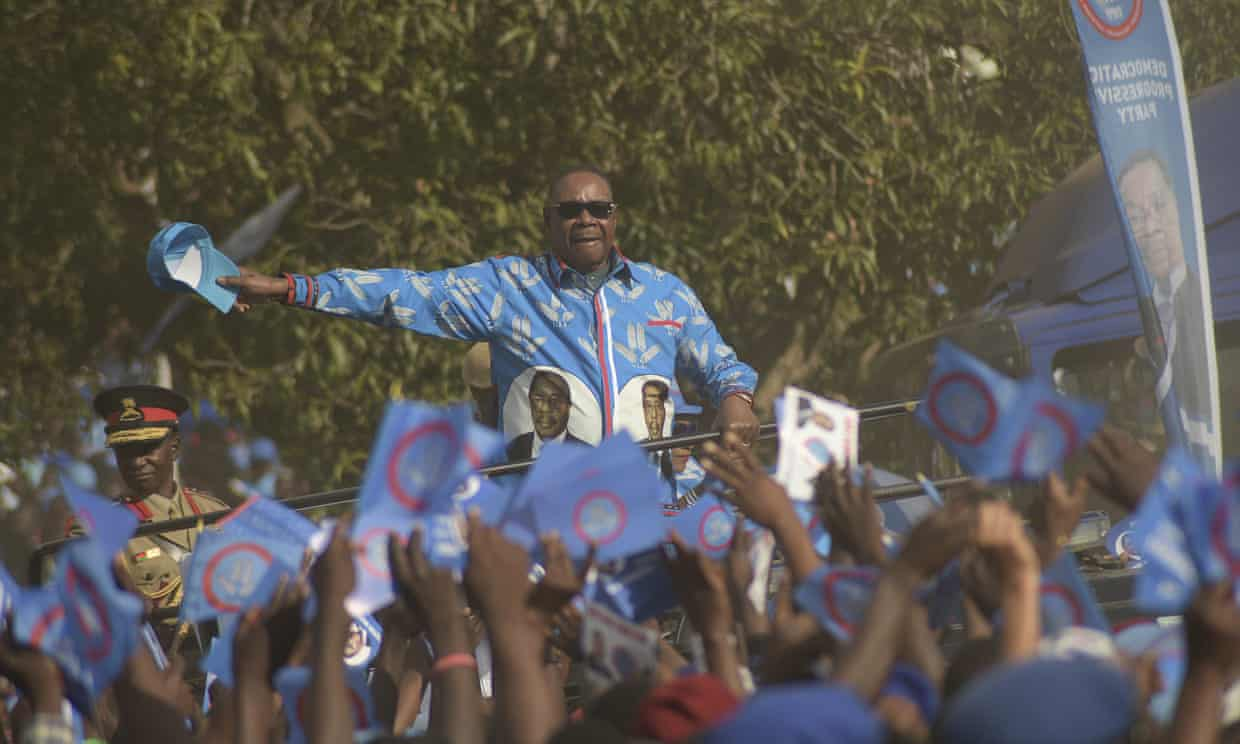 The Malawian president, Peter Mutharika, arriving at a rally in Blantyre. Photograph: The Guardian, Thoko Chikondi/Associated Press.
