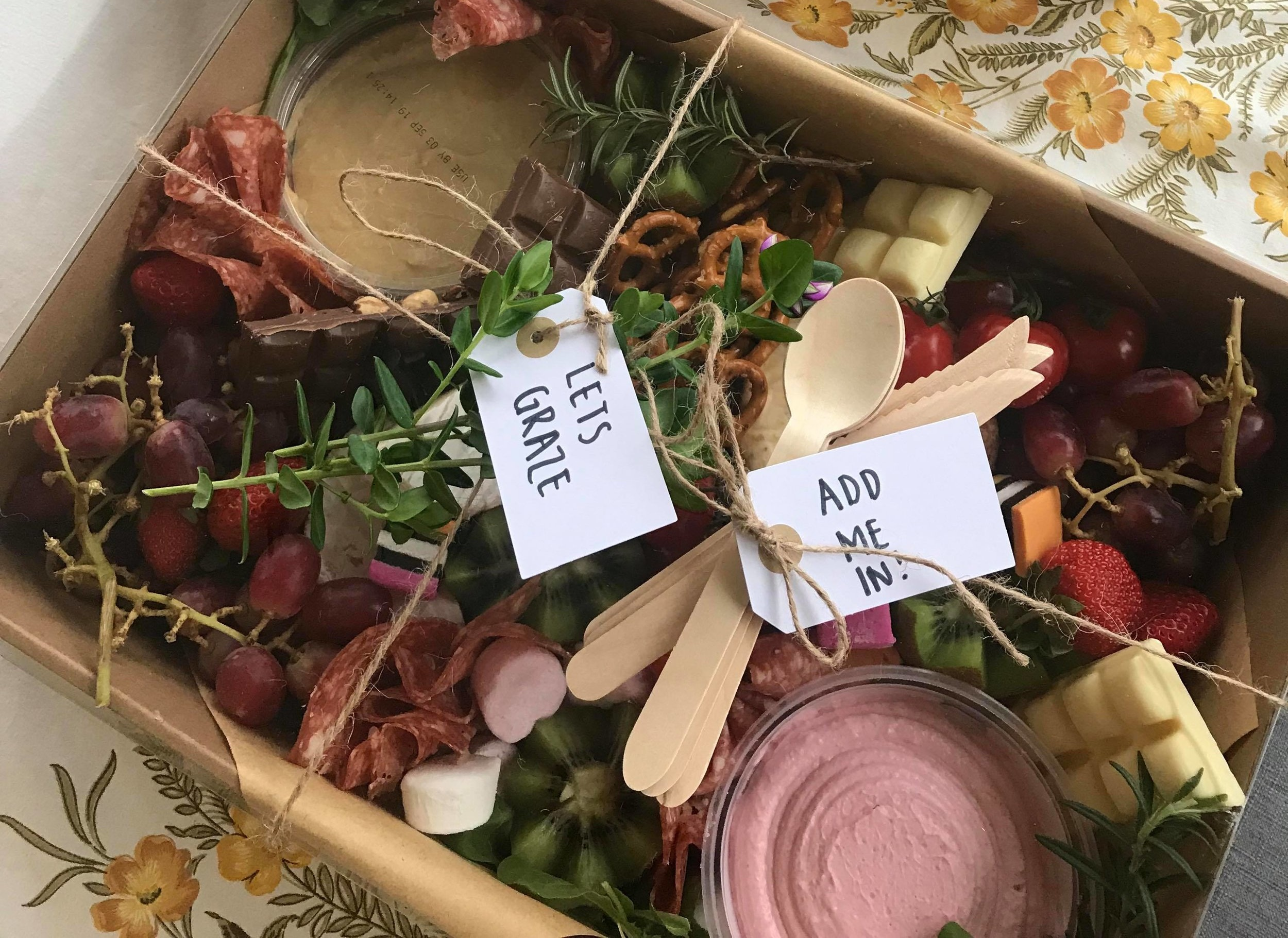 "Contact ""Lets Graze"" for the prefect midday snacks for your wedding party and receive  10% OFF  all grazing boxes when you mention JMP! *Vegan + Gluten free options available upon request"