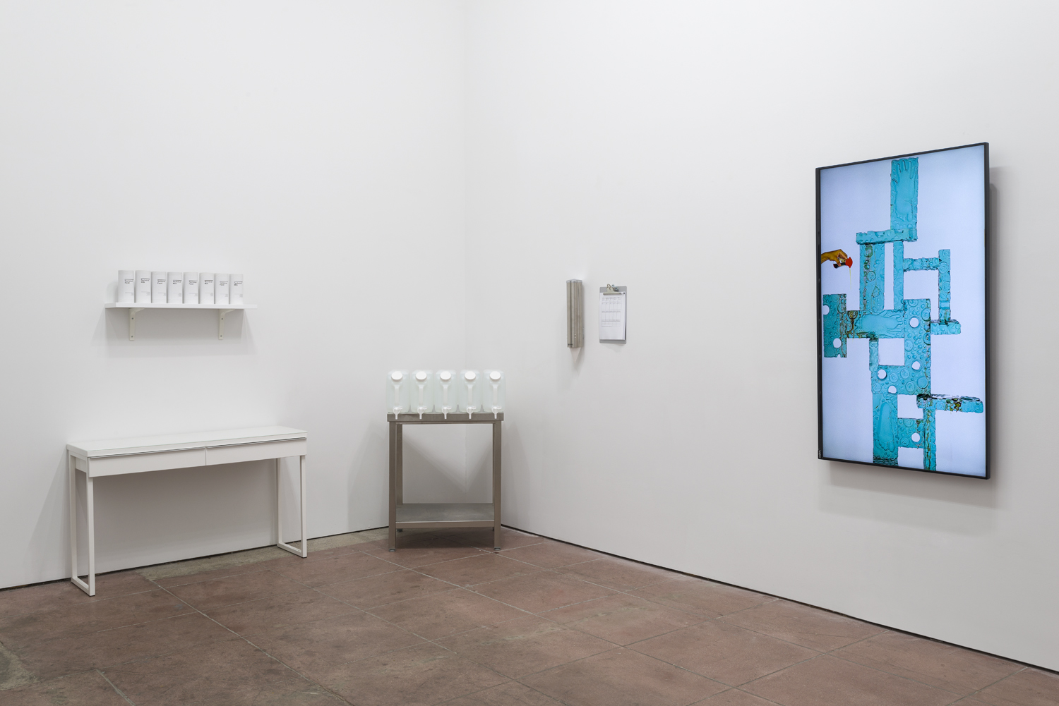 In the Flesh Part l: Subliminal Substances , installation view  Martos Gallery, Los Angeles, 2015  (Sean Raspet, Nicolas Lobo)