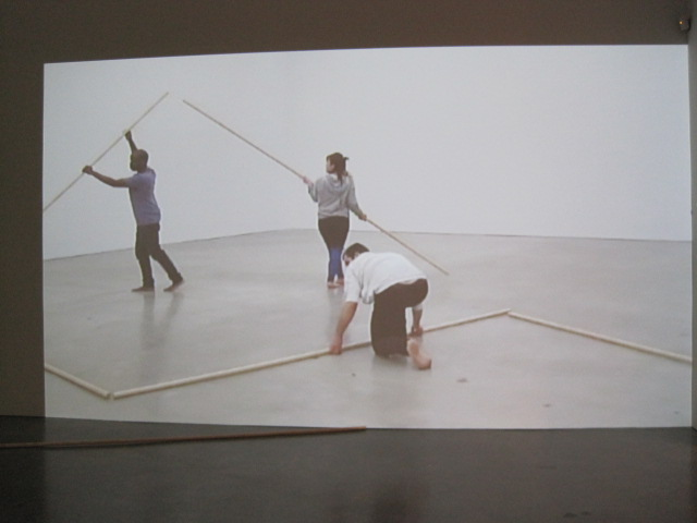 Brody Condon,  Line Up (After Trisha),  2011, performance documentation installation