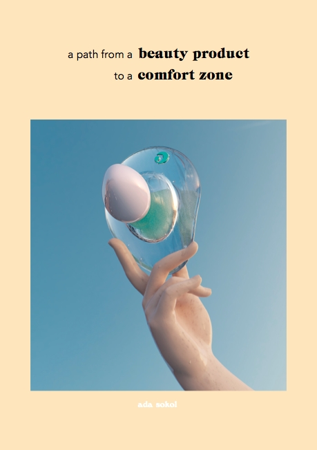 """Ada Sokol, """"a path from a beauty product to a comfort zone,"""" 2016, research-based text with 3D renderings  PDF print-out available for $0.25 from the white newspaper dispenser directly next to FARAGO  224 W. 8th St. Los Angeles, CA 90014"""