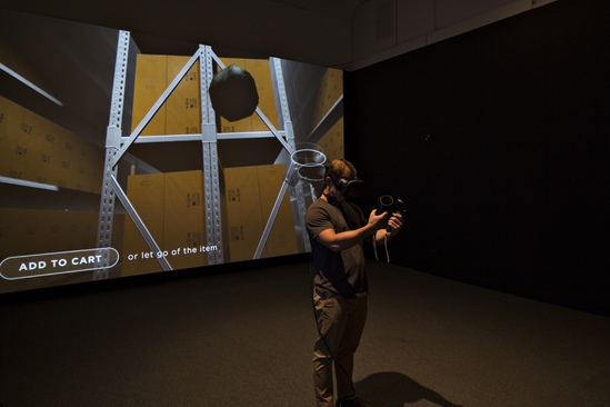 Institute for New Feeling,  Ditherer , 2016, installation view  HTC Vive VR Headset, video projection