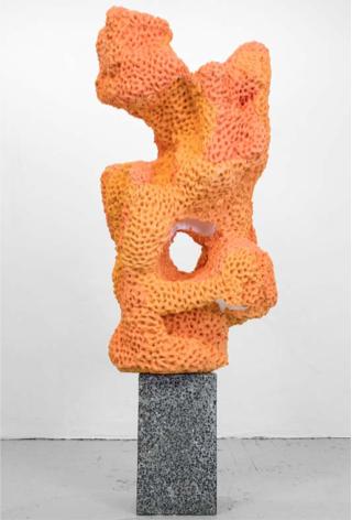 Nicolas Lobo,  Napalm Stone (Bronzer Version #1) , 2014  Napalm, PlayDough, spray bronzer, terrazzo