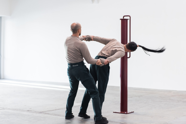 Adam Linder , Full Service,  2018, installation view  Wattis Institute, San Francisco   Choreographic Service No.4: Some Strands of Support,  2016  Two dancers: Enrico Ticconi and Adam Linder