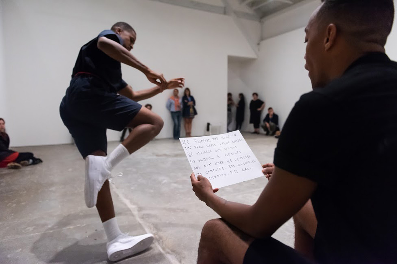 Adam Linder , Full Service,  2018, installation view   Choreographic Service No.2: Some Proximity,  2014  Two dancers and one writer: Justin Kennedy, Josh Johnson, and Jonathan P. Watts/Michele Carlson