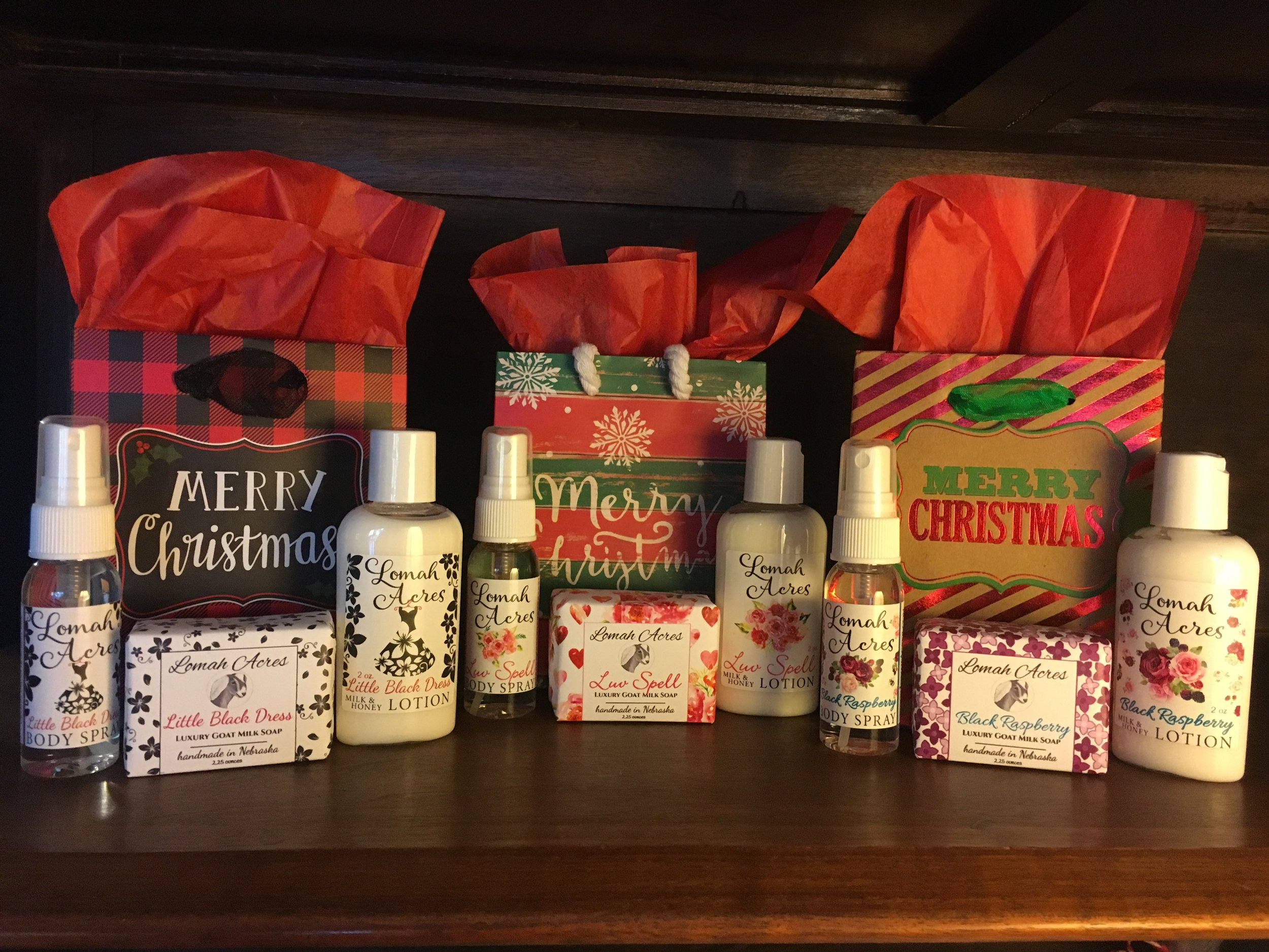 Gift Bags (incl. 1 oz body spray, half soap bar, 2 oz lotion) $10  Available in Little Black Dress, Luv Spell, Black Raspberry