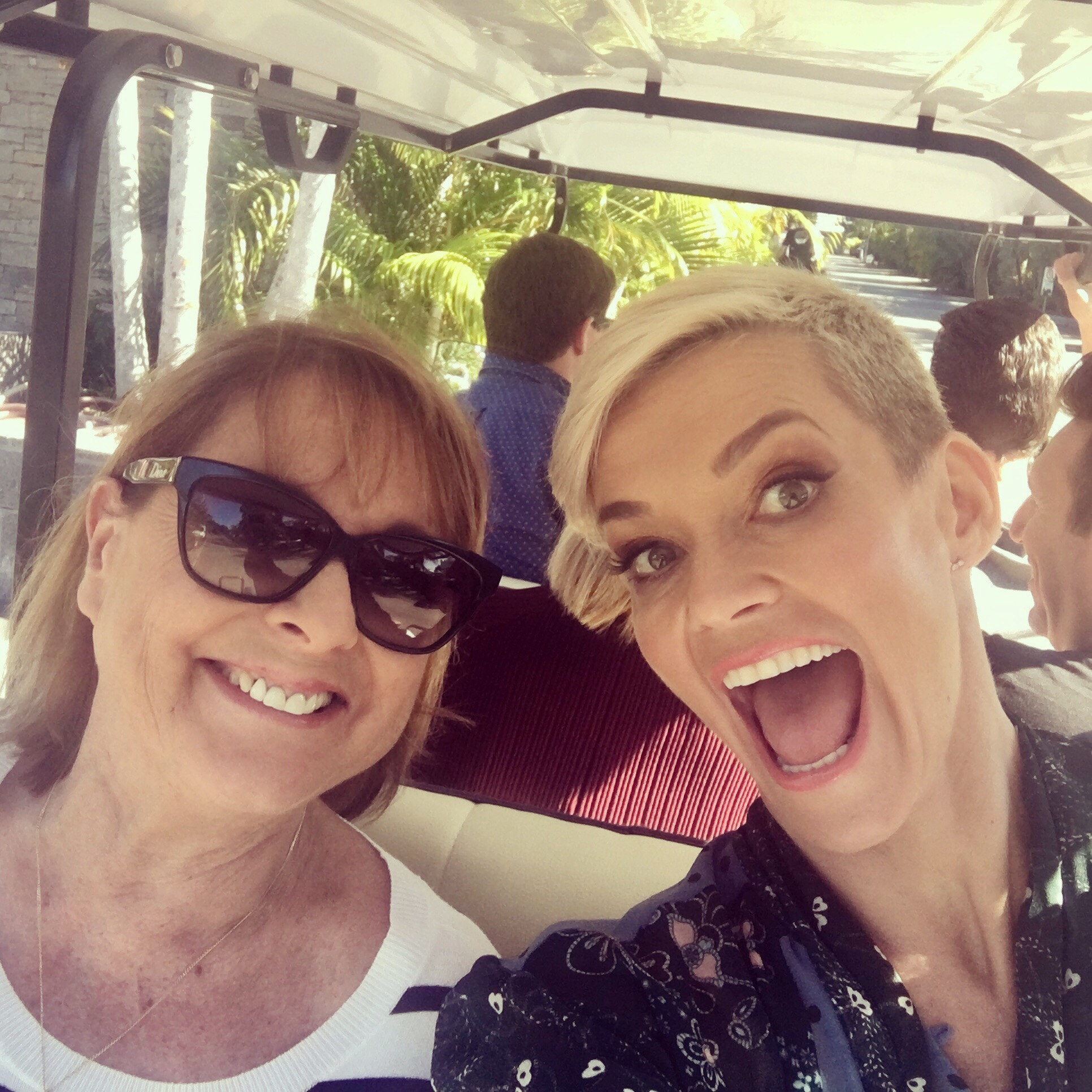 Hands free driving! (Neesy and I being driven around in golf buggy)