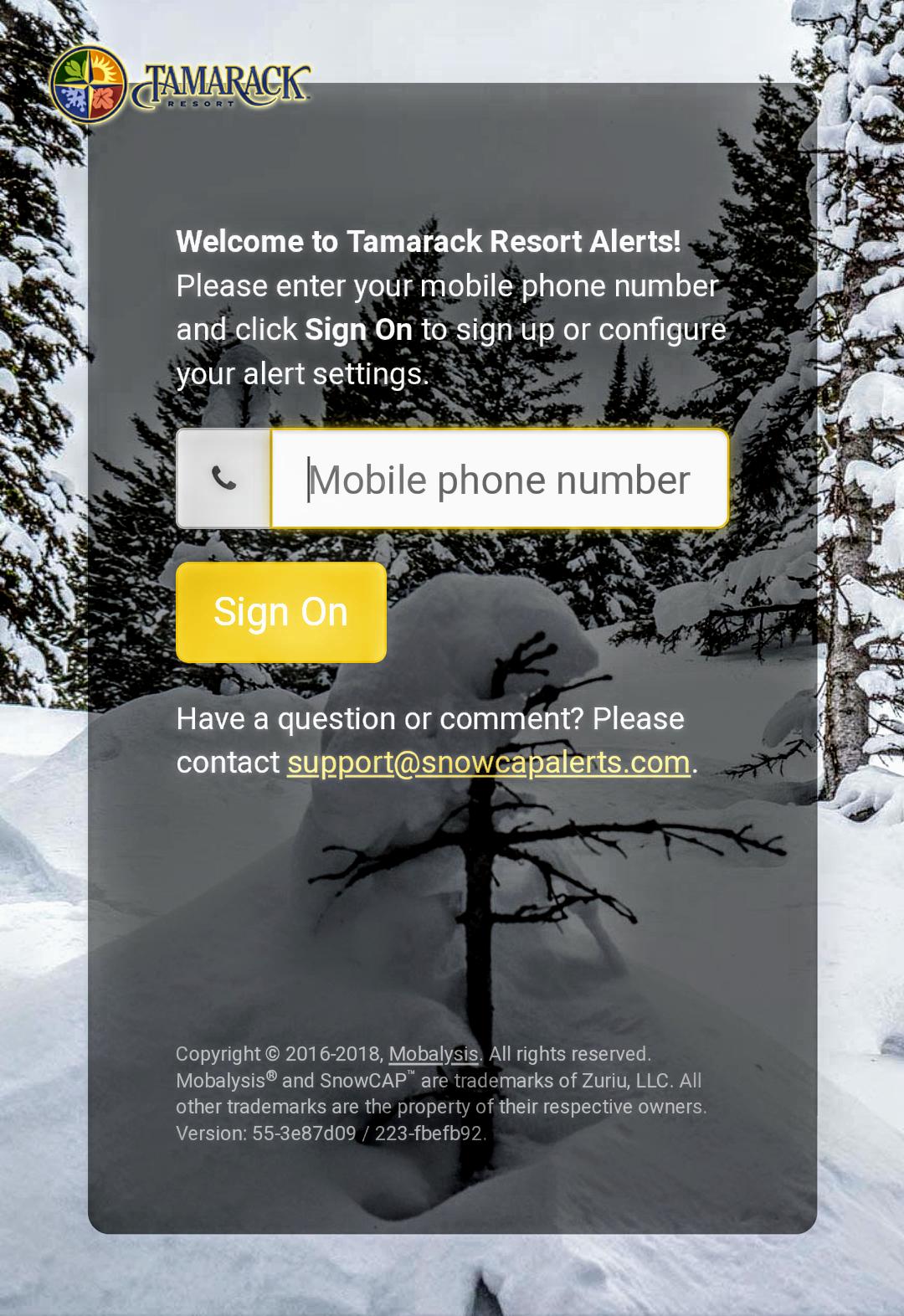 Tamarack Powder Alerts