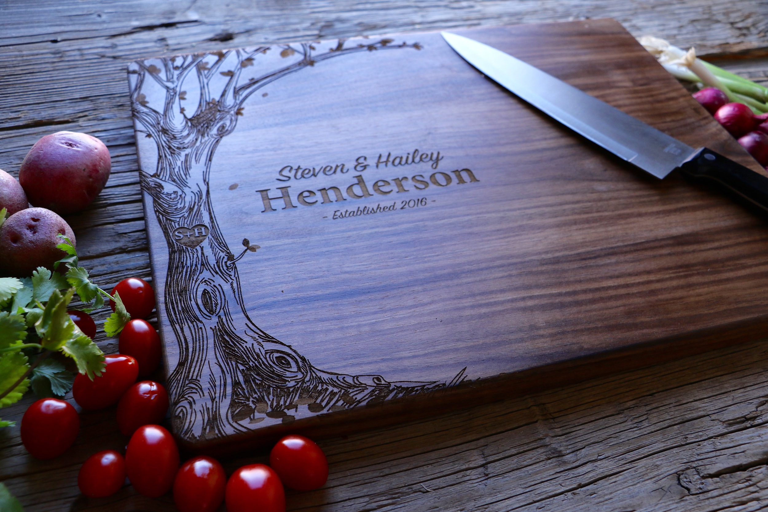 Walnut cutting board with our Heart Tree design