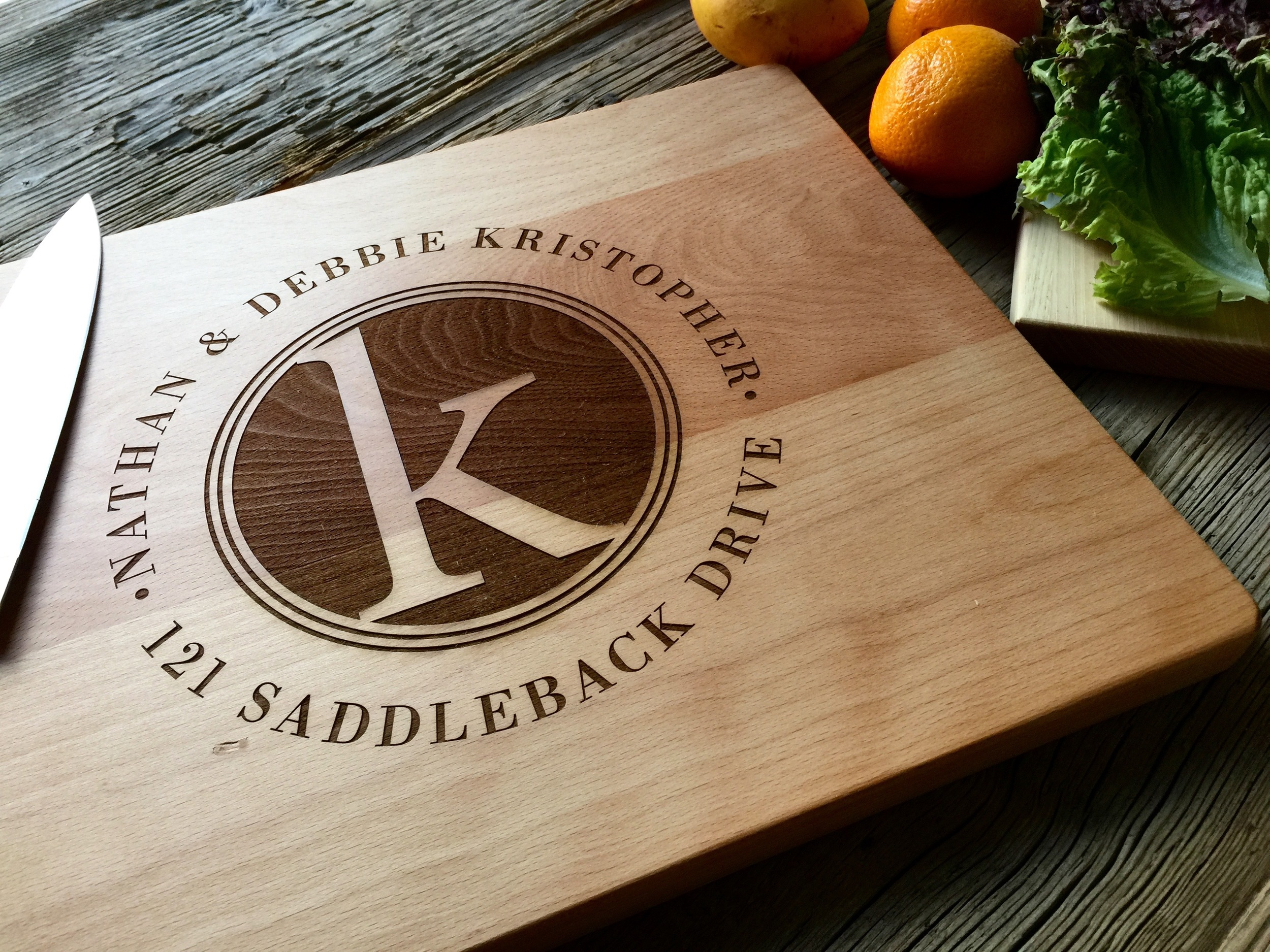 Beech Cutting Board with our Negative Relief Address Stamp