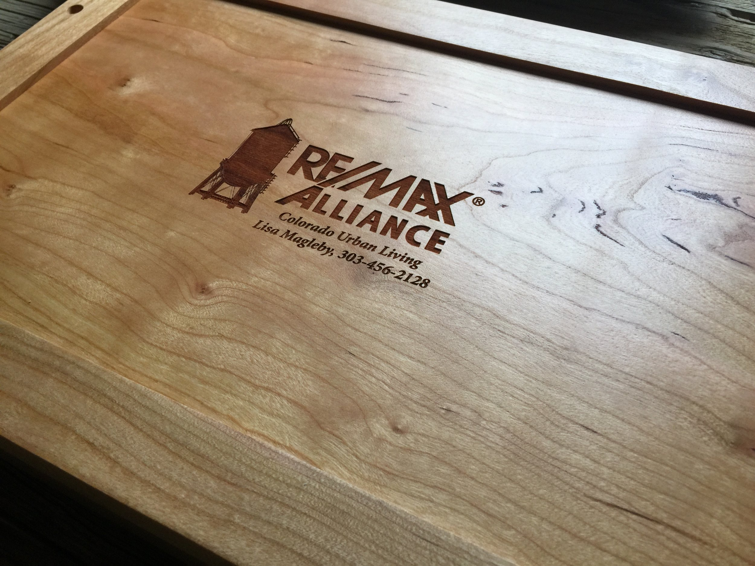Logo Engraving on the back of a Wood Tray