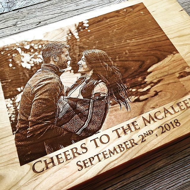 We also do photo engraving on wood!  #anniversarygift #christmasgifts photoengraving #engraved #engravedgifts #personalizedgifts #engravedphoto @taylorcrafts_engraved