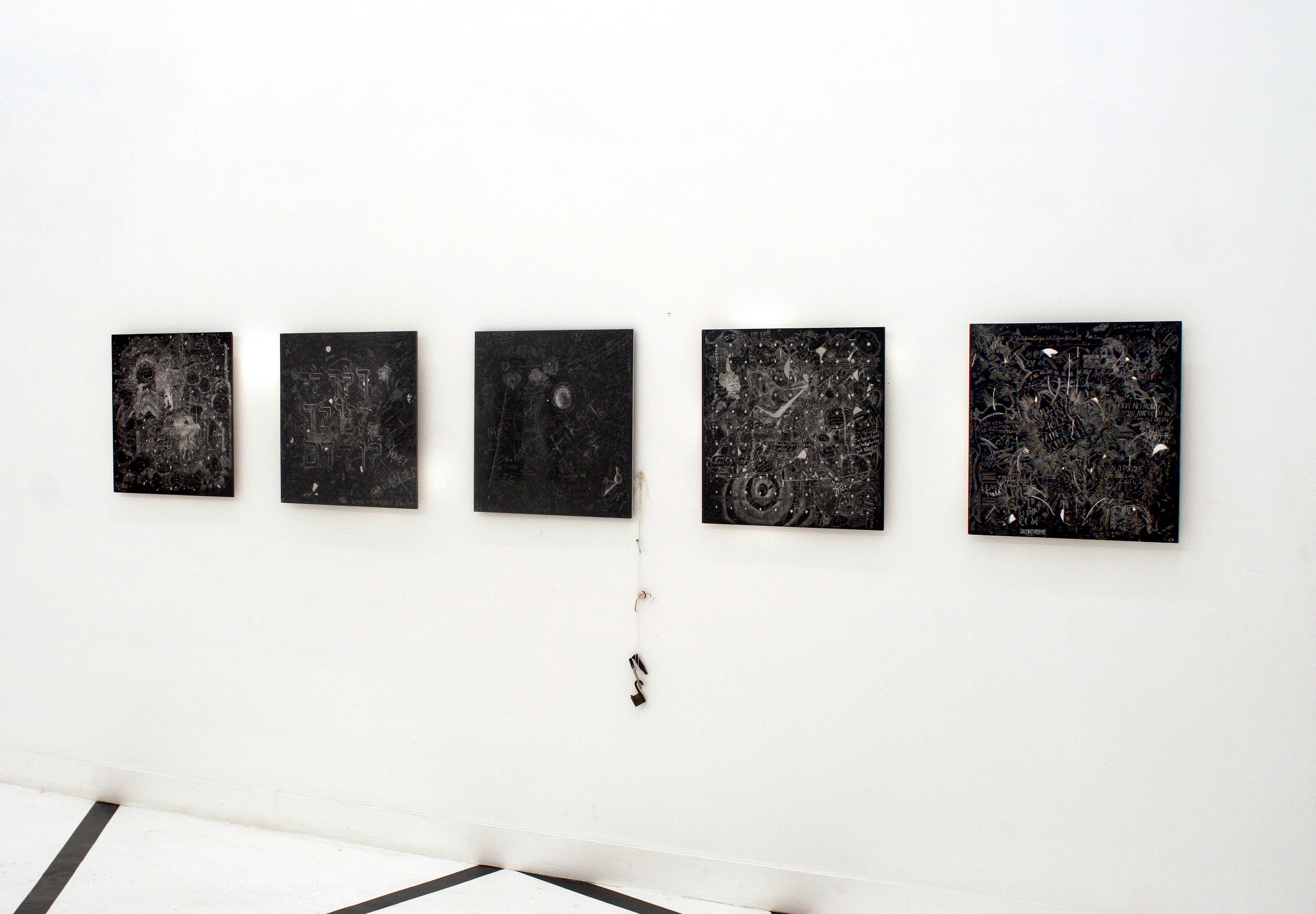 606-331, Crowd sourced collaborative drawings, Incised aluminum with baked enamel finish and carving tools, Installation view, Confection at OHWOW, Miami, FL. 2009