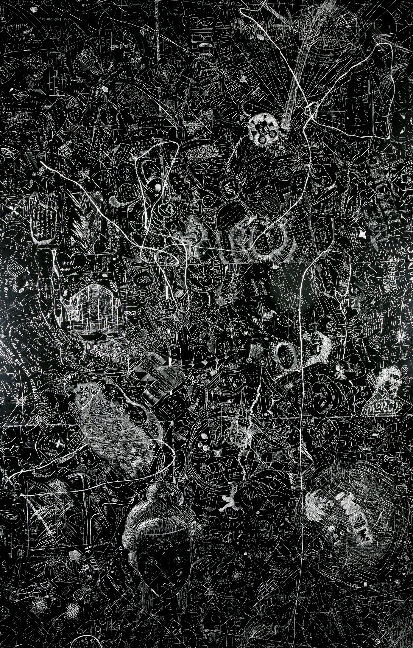Miami Art Museum 2010, Crowd sourced collaborative drawing, Incised aluminum with baked enamel finish, 60 X 48 inches, 2010-11