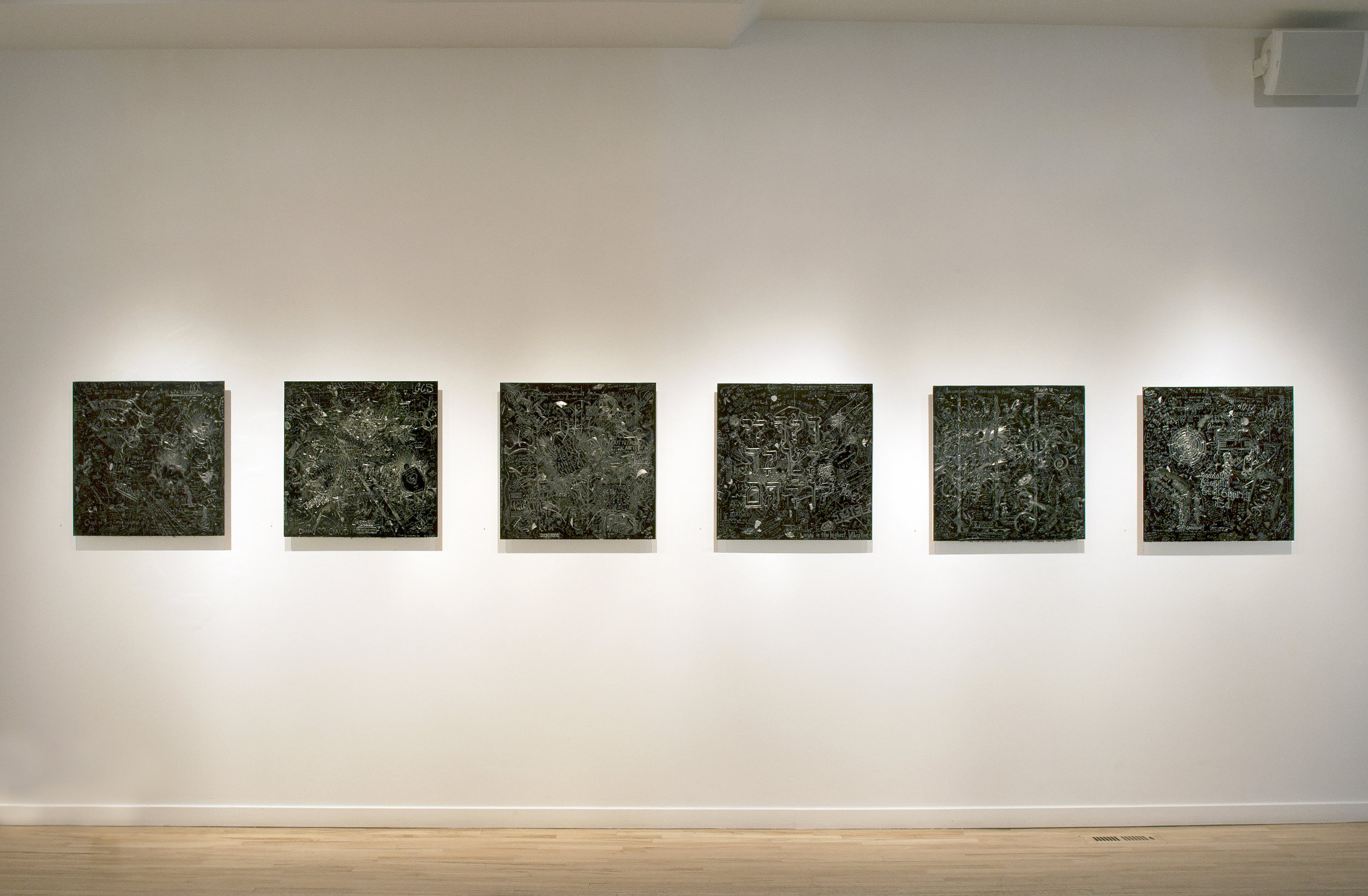 """MCA 1-6, Collaborative incised drawings on aluminum with baked enamel finis,Installation view at """"We All We Got"""", 2008"""