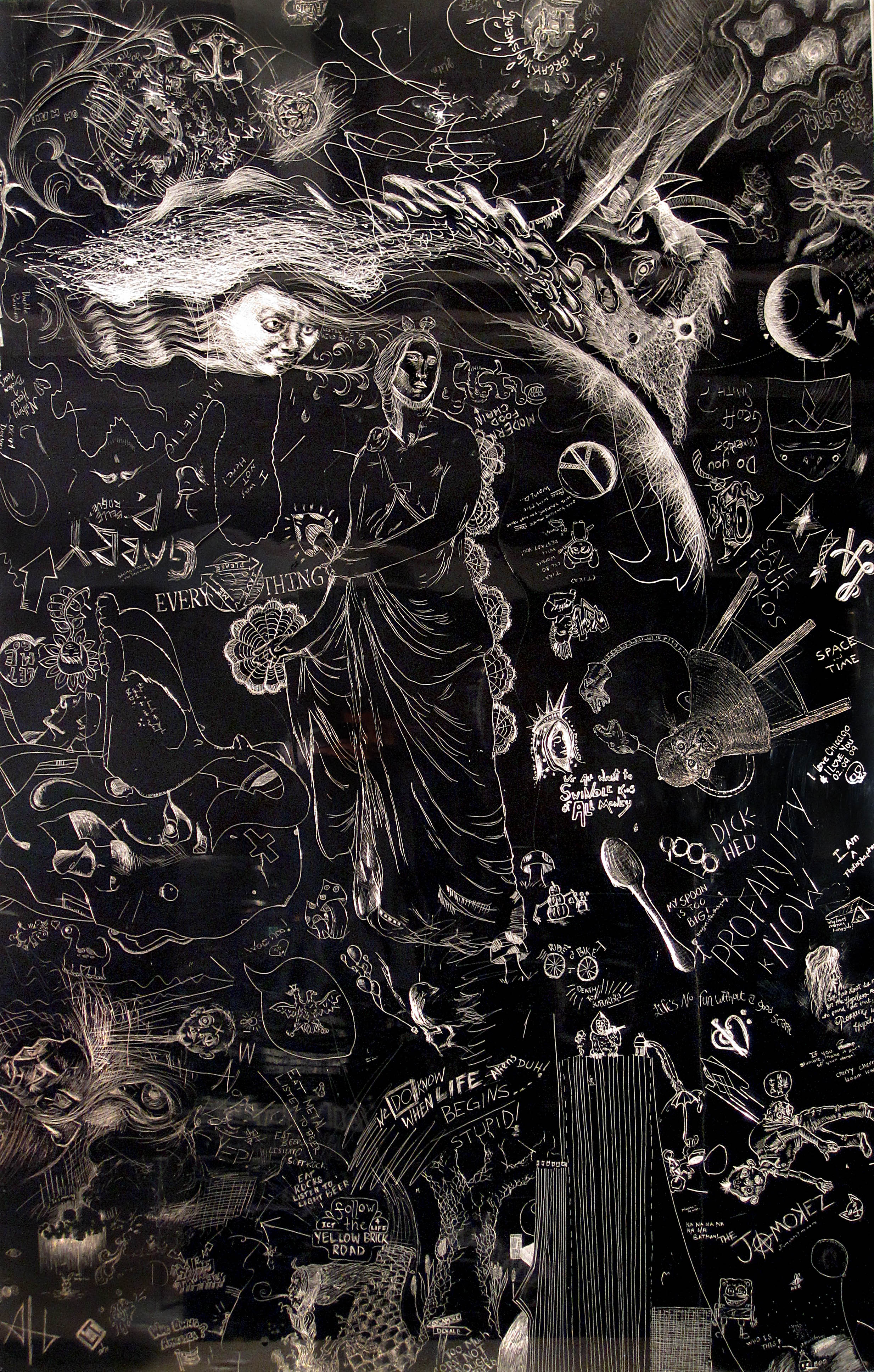 Disfunction and repair, Collaborative drawing at NIU School of Art and Design, Incised aluminum with baked enamel finish, 60 X 48 inches, 2010