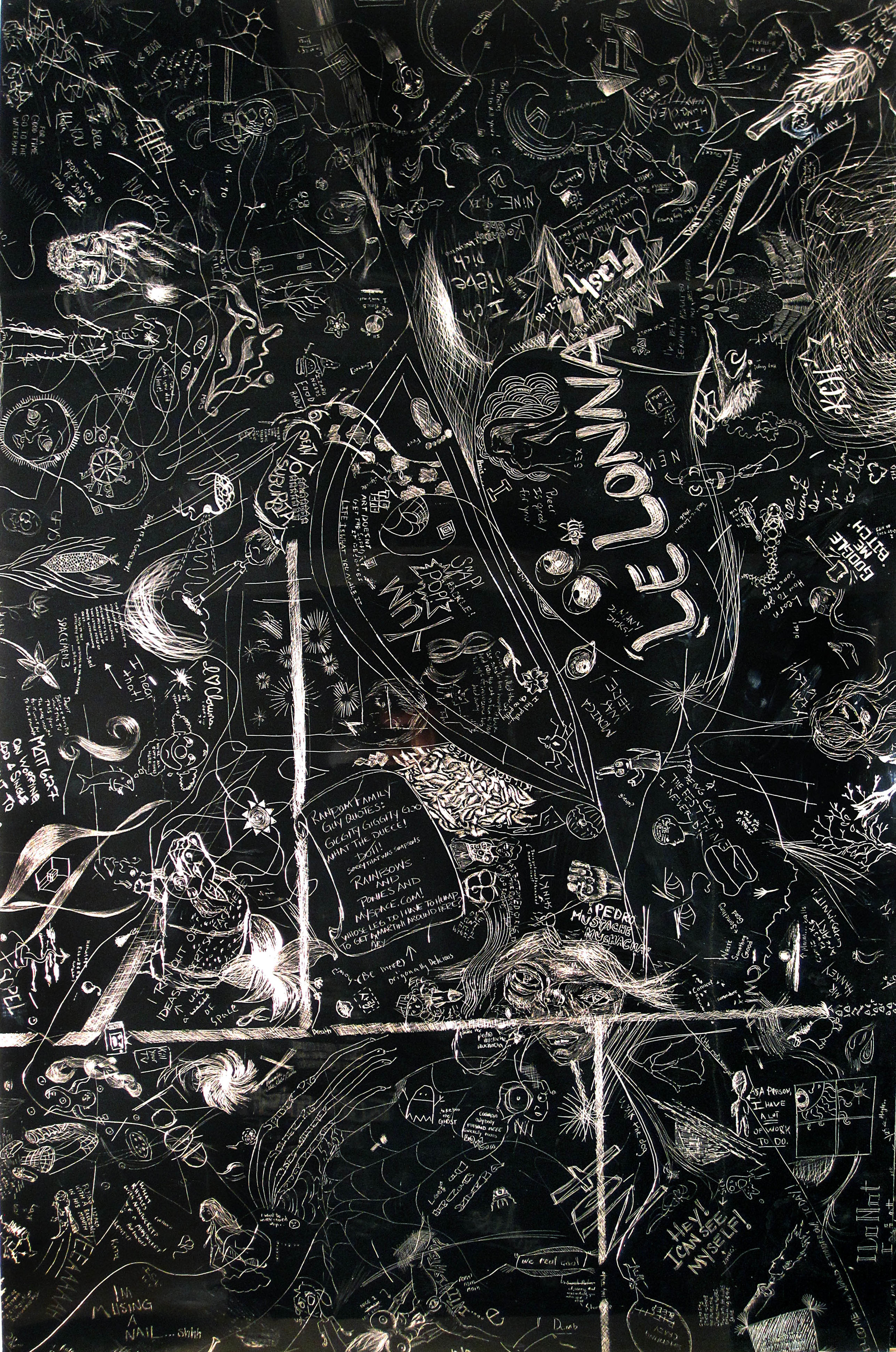 LeLonna, Crowd sourced collaborative drawing at NIU School of Art and Design, Incised aluminum with baked enamel finish, 60 X 48 inches, 2010