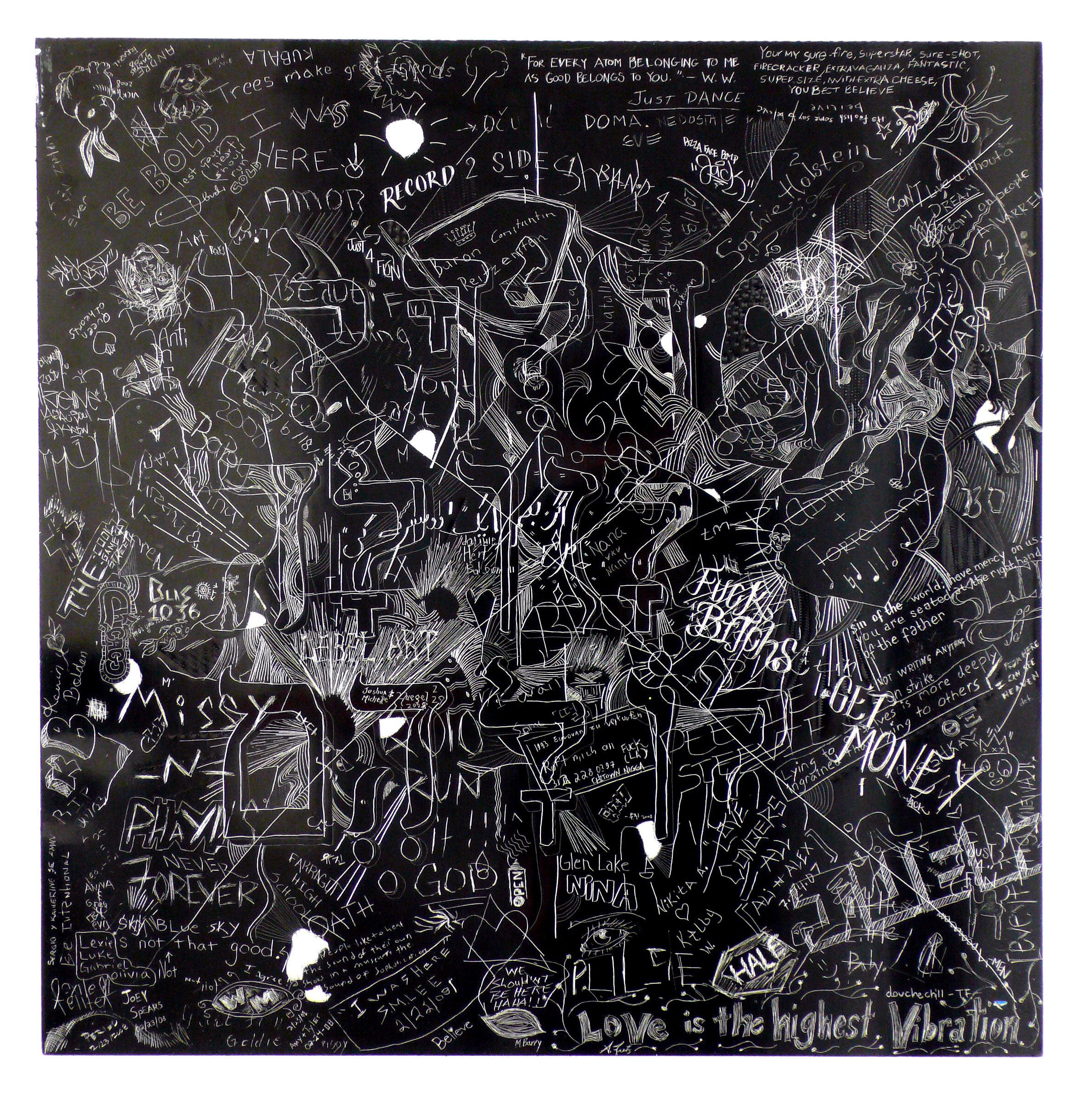 MCA 4,Collaborative incised drawings on aluminum with baked enamel finish made w/ the Museum of Contemporary Art Chicago's visitors and staff, 24 X 24 inches, 2008