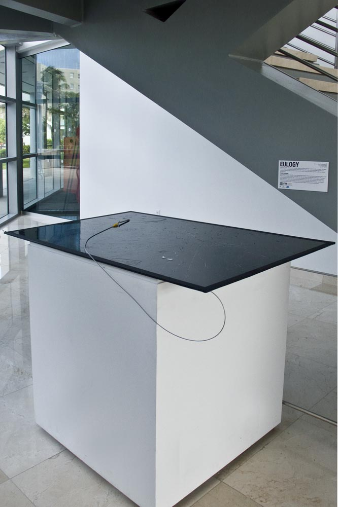 Eulogies, Surface installation with subject and carving tool, Frost Art Museum, Miami, FL 2011