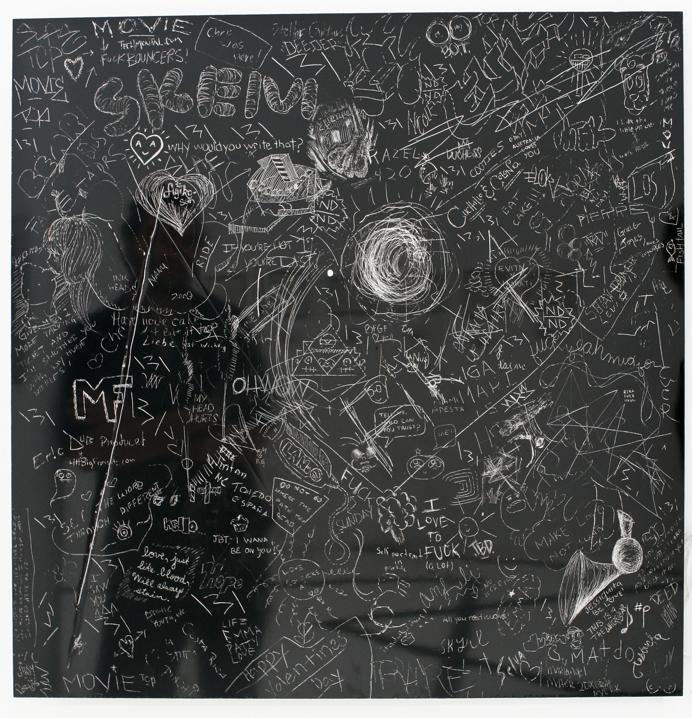 P.S. Plate #16, Collaborative incised drawing on aluminum with baked enamel finish, 24 X 24 inches,OHWOW Miami, FL. 2009