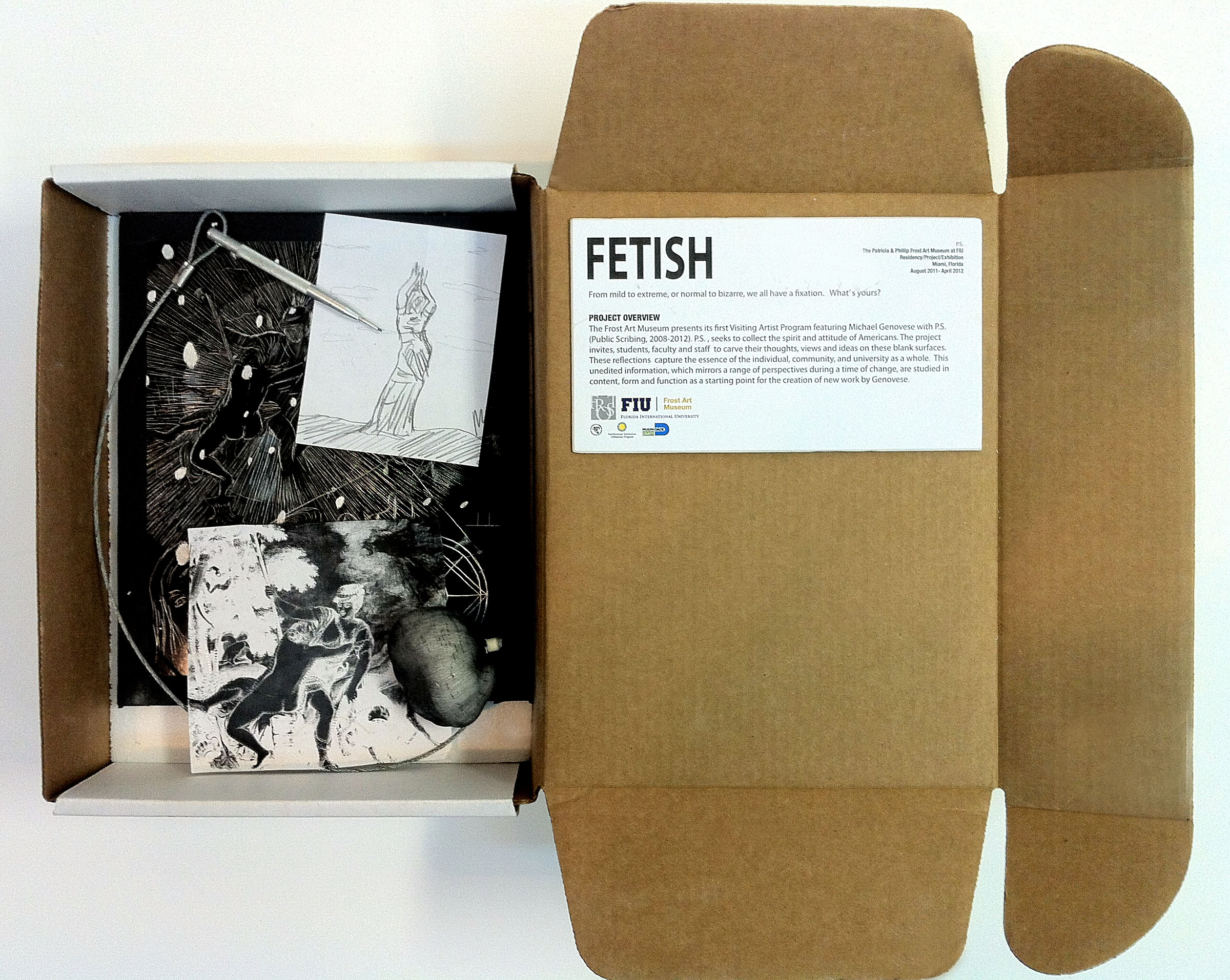 Fluxus edition, Blank aluminum composite material, subject, incision tool, pounce kit. Various themes and perforated patterns. Ed. 50 unique, 2011