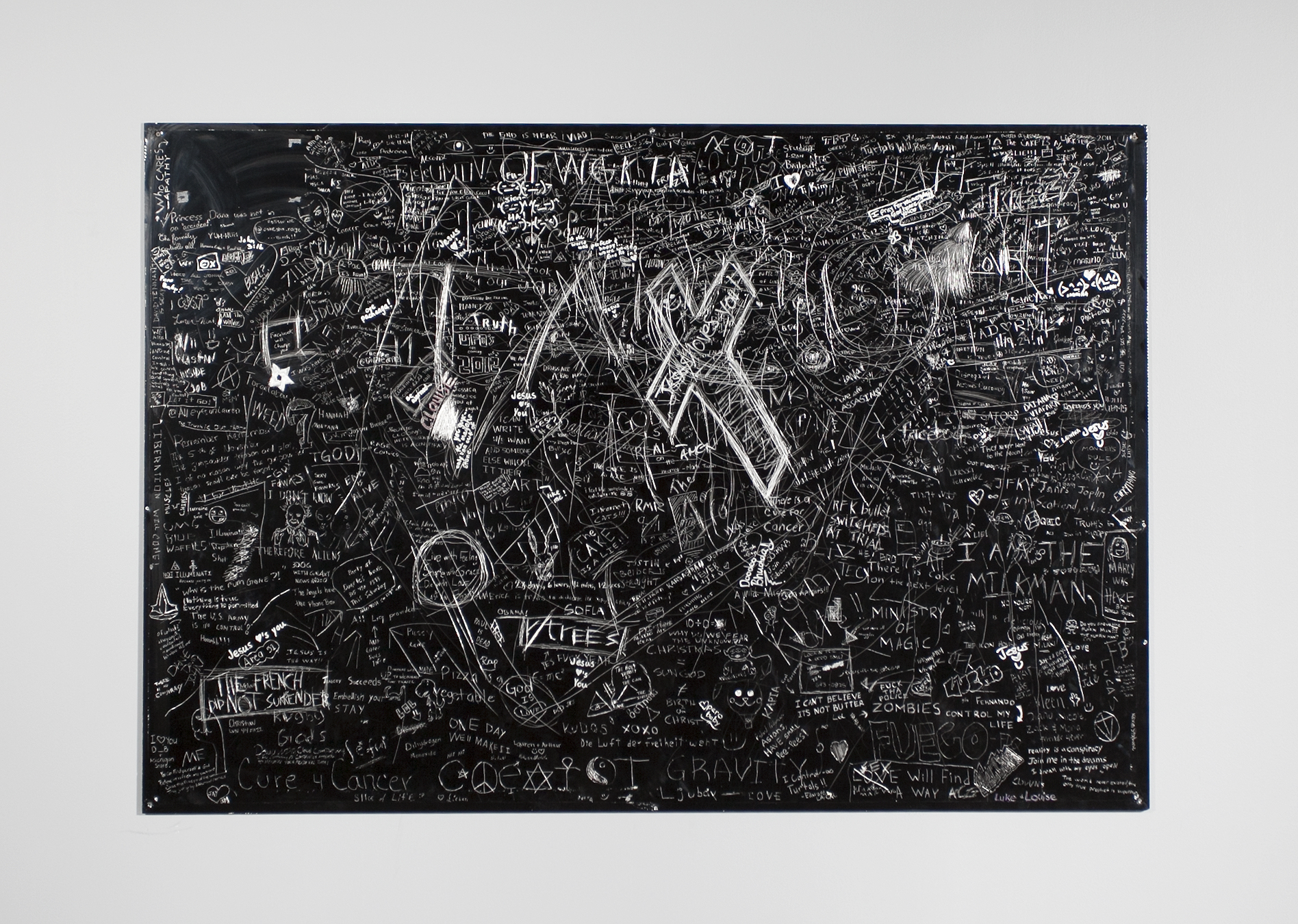 Faith,Faith, Crowd sourced collaborative drawing at Florida International University, Incised aluminum with baked enamel finish, 56 X 48 inches, 2011