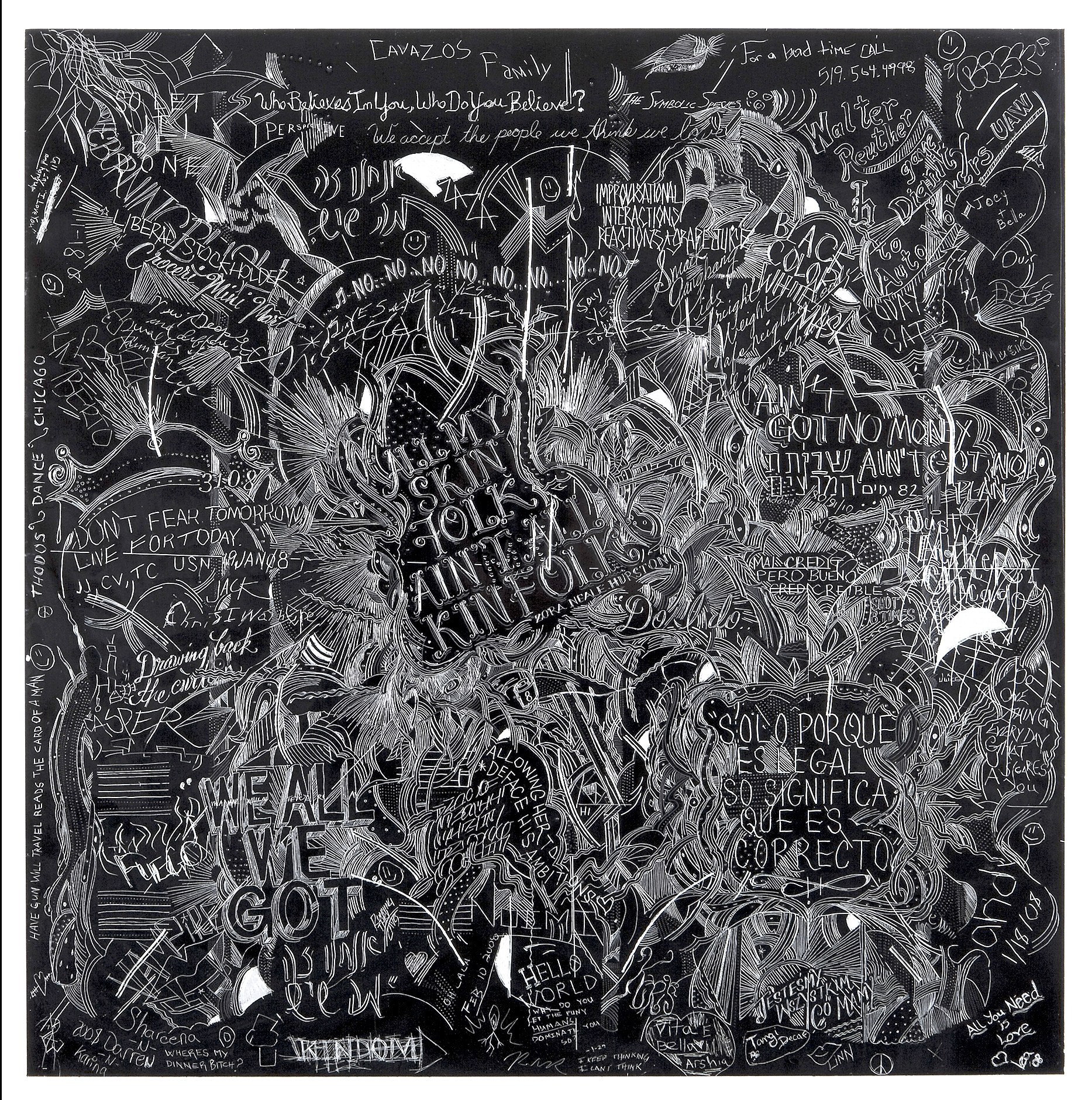 MCA 6,Collaborative incised drawings on aluminum with baked enamel finish made w/ the Museum of Contemporary Art Chicago's visitors and staff, 24 X 24 inches, 2008