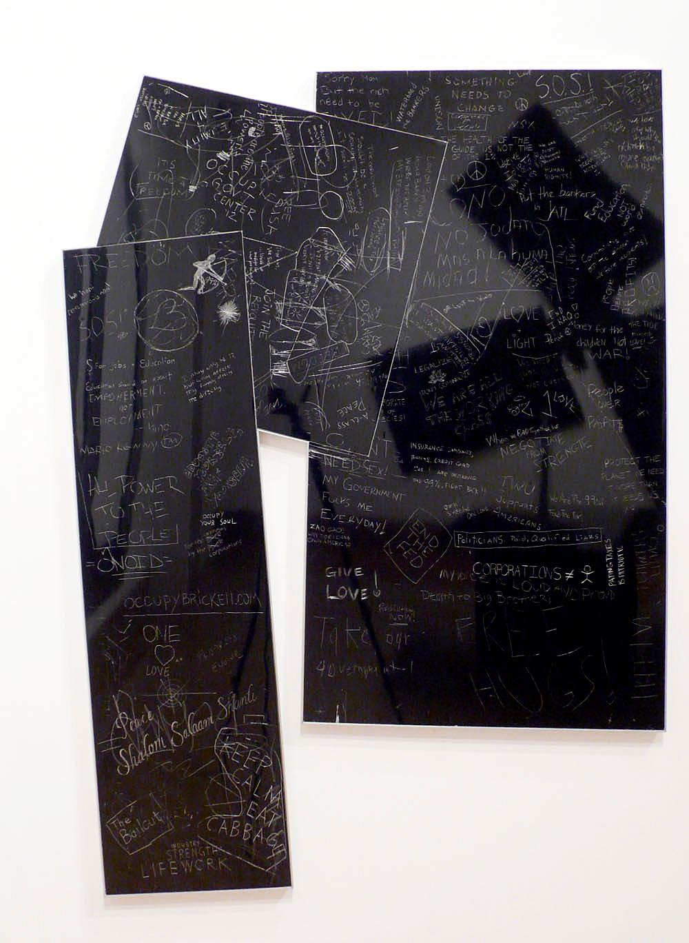 Protest ad Occupy,Joined, carved aluminum composite panels with baked enamel finish and artist frame, 60 X 42 inches, 2012