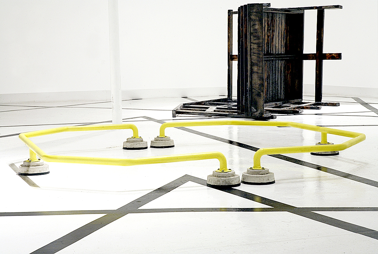 Riverdale , 2009. Steel, cement, and enamel. 110 x 110 inches