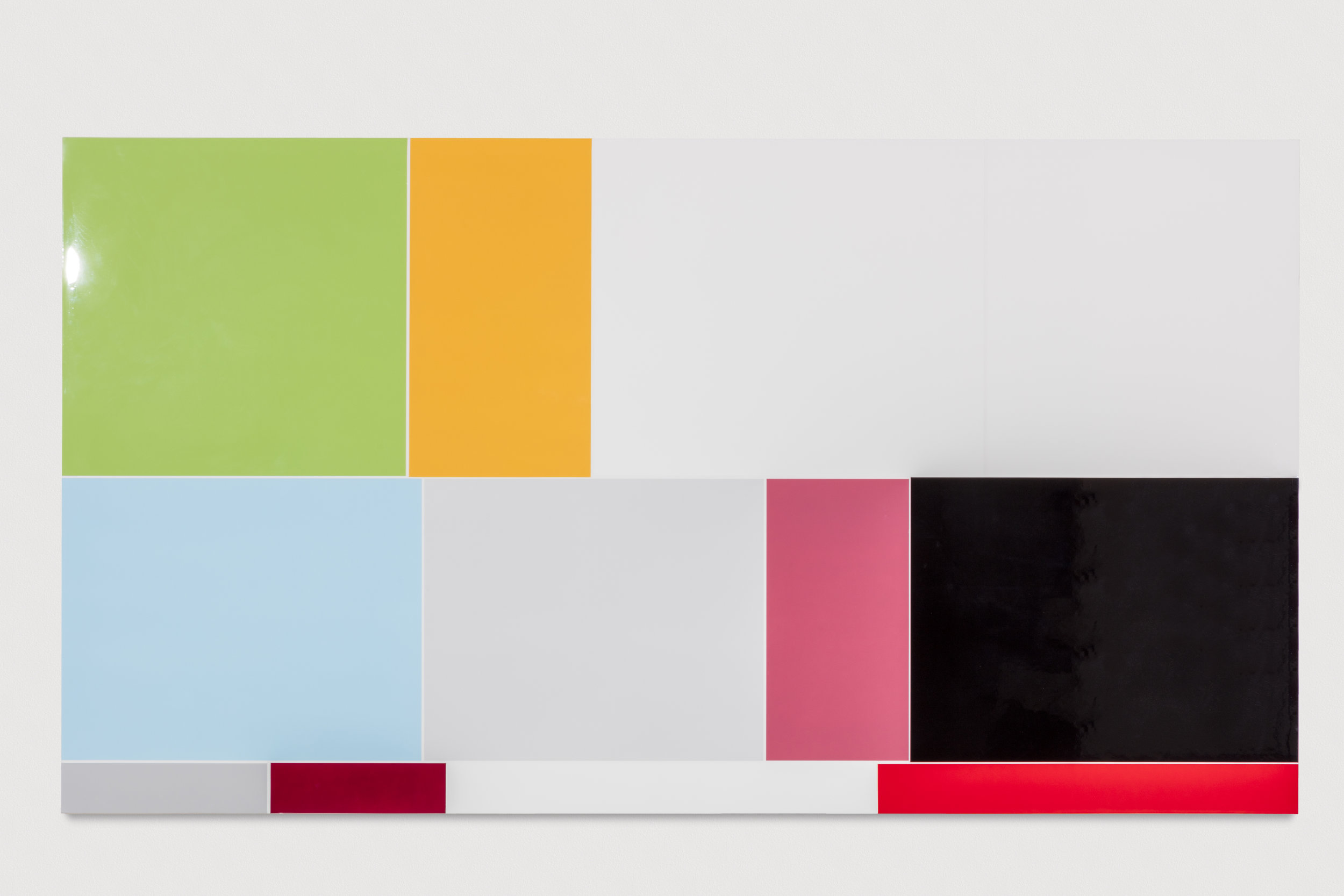 Rg. 73, Rage, (Feelings and Emotions Chart), Polished urethane on canvas, 58 X 121 inches