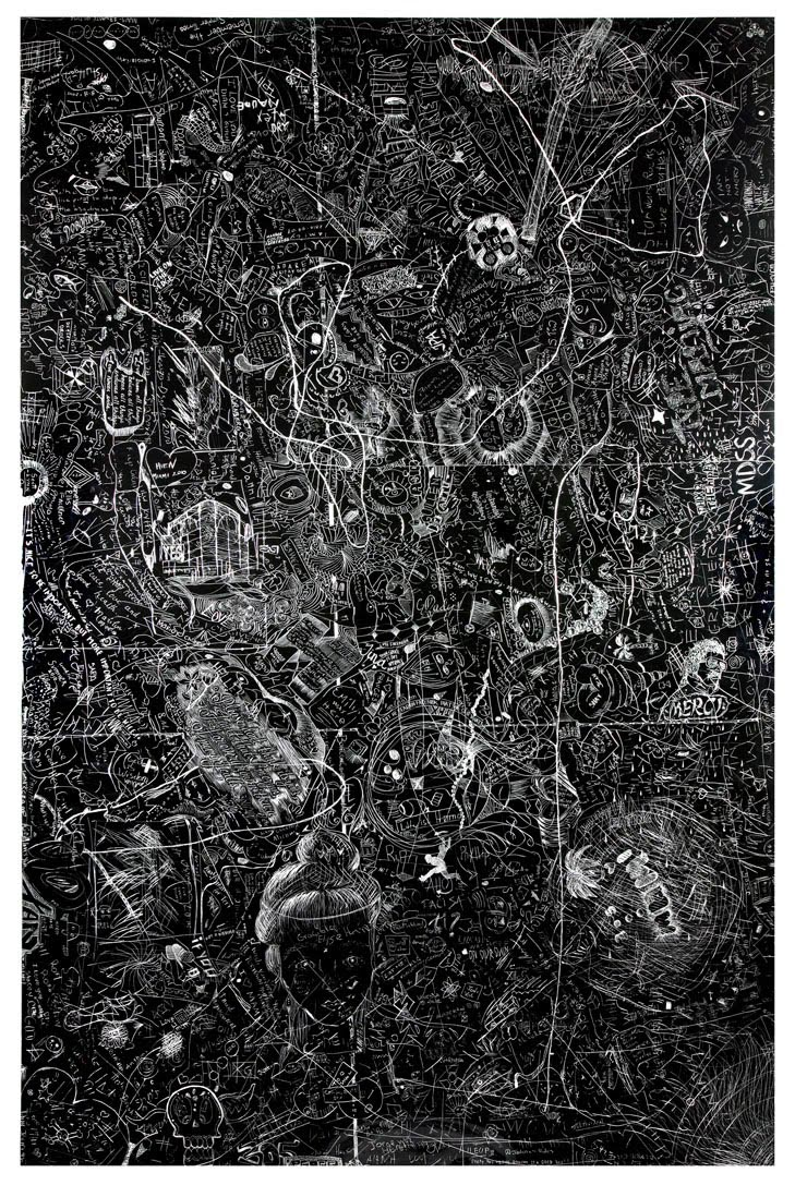 MAM-2 (Miami Art Museum), 2010Carved and incised painted aluminum panelCrowd sourced group drawing60 x 48 inches -
