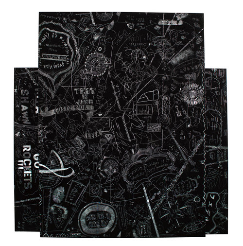 BXB-2 (Liberty City X Little Havana, Miami, FL), 2010Stacked, carved and incised painted aluminum panels, 2 Parts Crowd sourced group drawing60 x 50 inches -