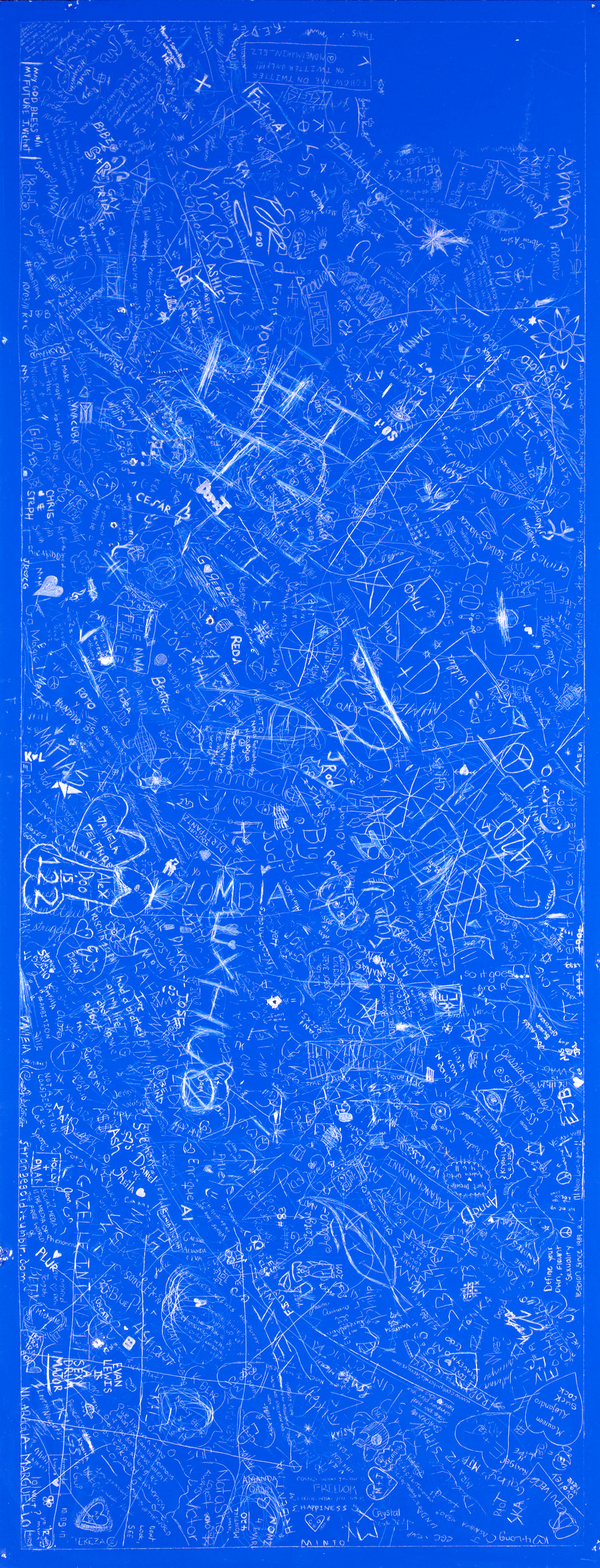 Signature, FIU-16 (Florida International University), 2012Carved and incised painted aluminum panelCrowd sourced group drawing60 x 48 inches -