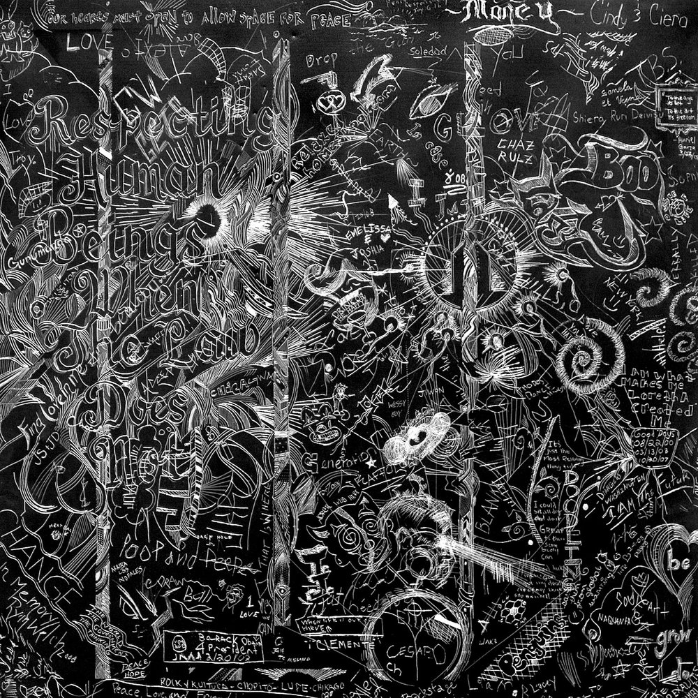 MCA-4 (Museum of Contemporary Art Chicago), 2008Carved and incised painted aluminum panelCrowd sourced group drawing24 x 24 inches -