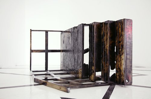 Release and let it go, 2009Constructed replica of artist's family porch, charred pine and marine epoxy65 x 120 x 98 inches -