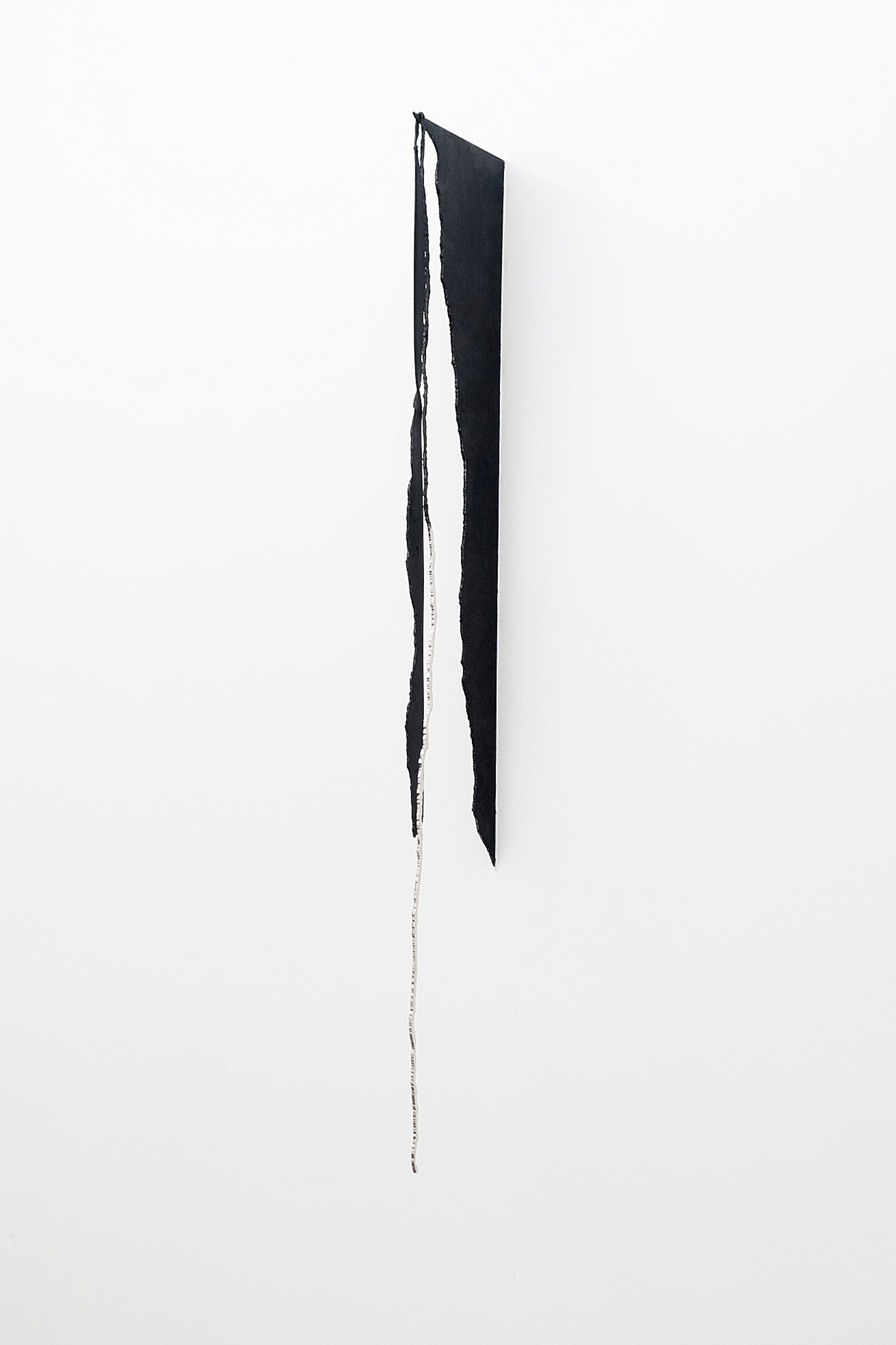 Cascade, 2013graphite and steel nickel plating on blue steel plate62 x 10 x 1 inches -