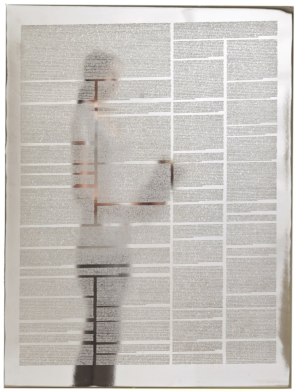 Tableaux #4-3310 (Transcriptions of collected social commentary from Chicago and Miami translated to Polish, Haitian Creole and Spanish) 2010Artist designed codex engraved onto mirror polished nickel plated aluminum26 x 19 inches -