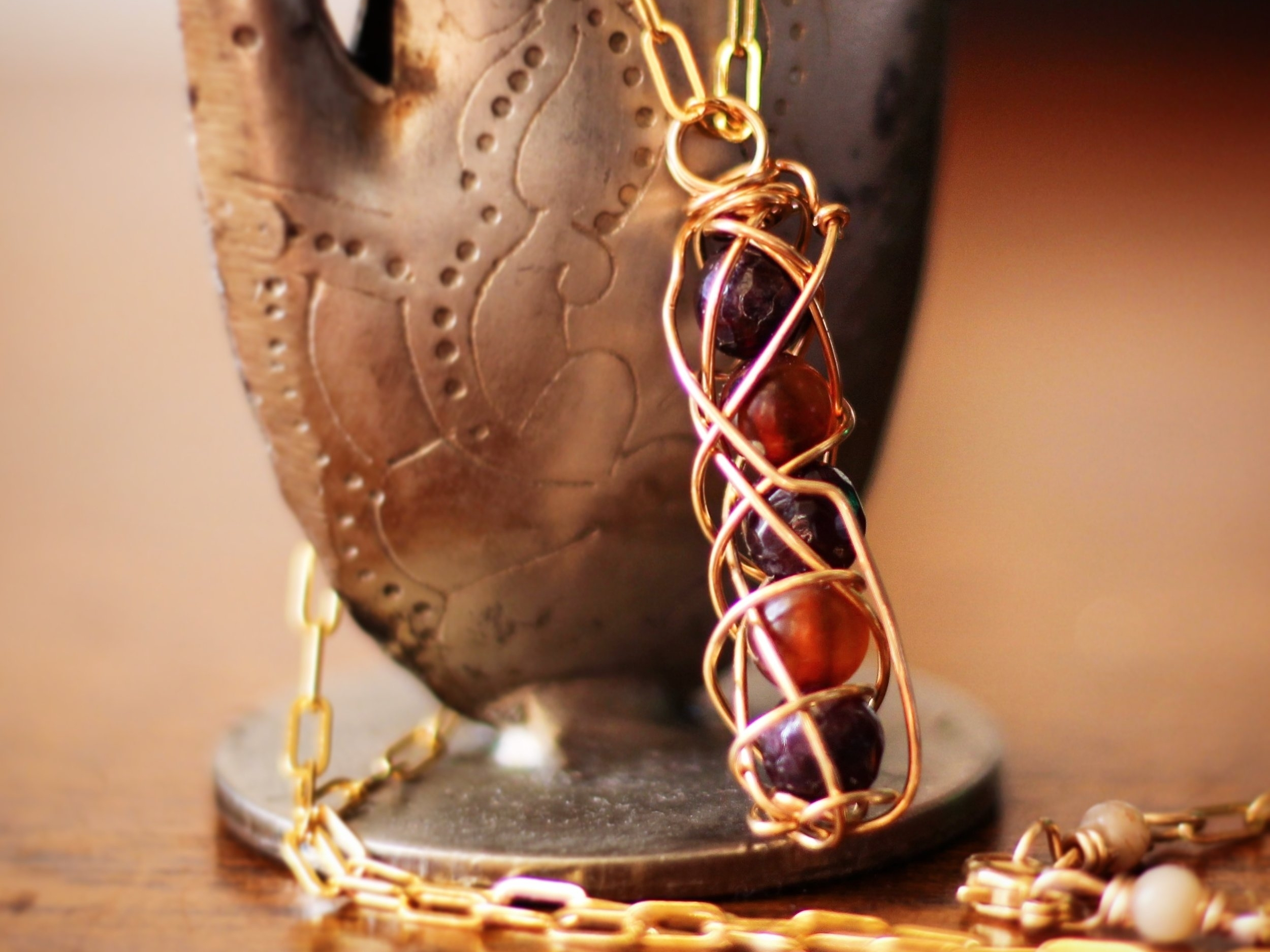 New Beginnings Necklace - Garnet and Amber