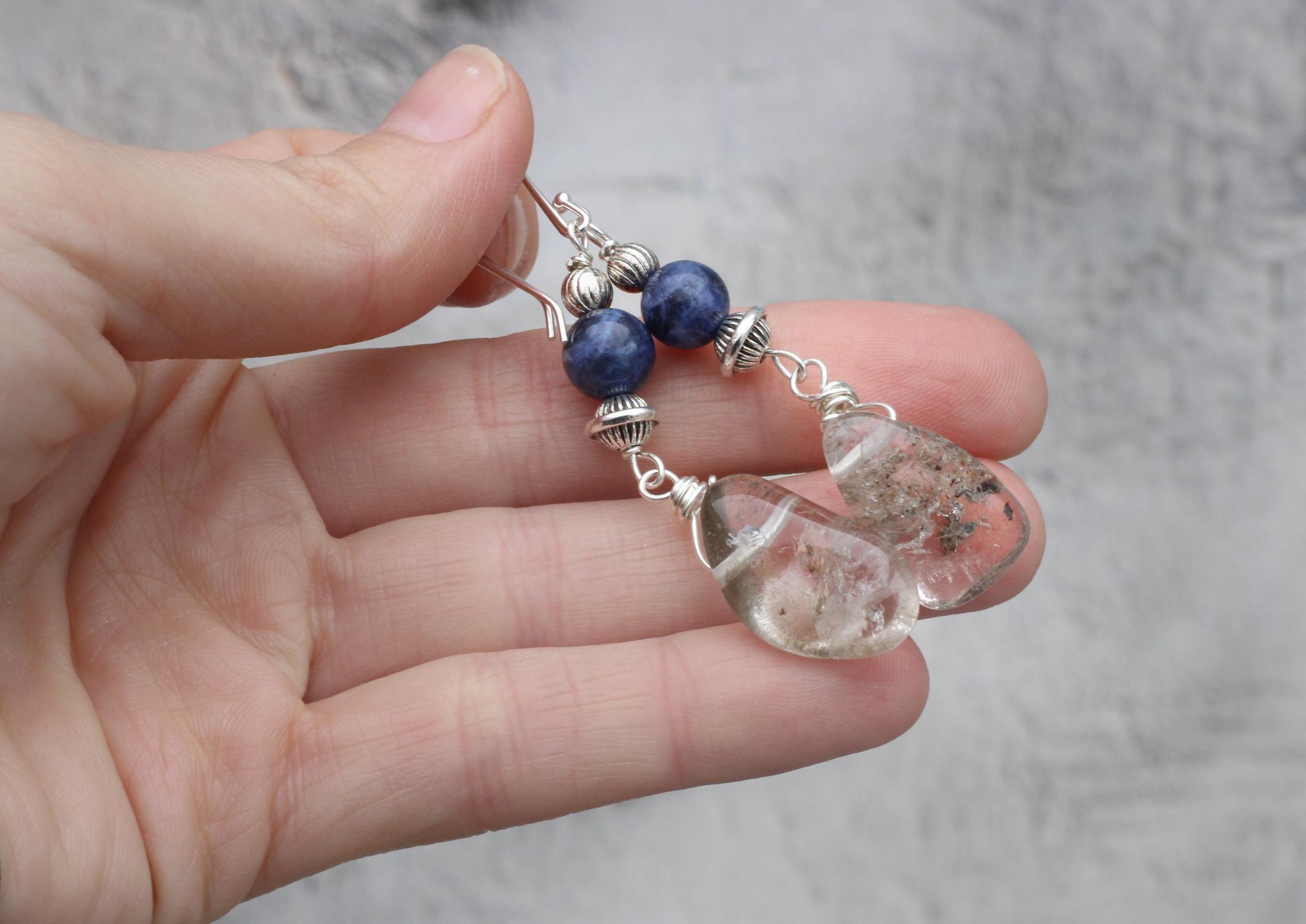 Lodolite Garden Quartz Earrings