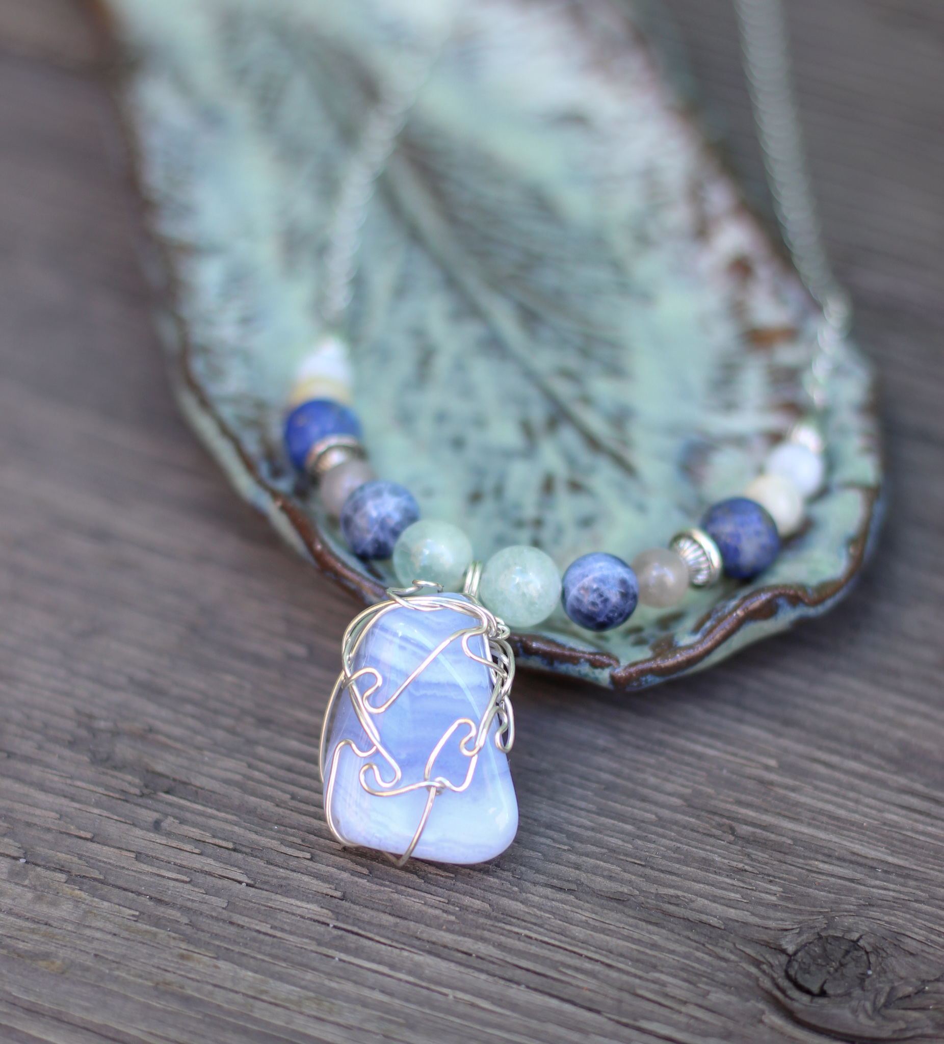 Streams of Peace Necklace - Blue Lace Agate
