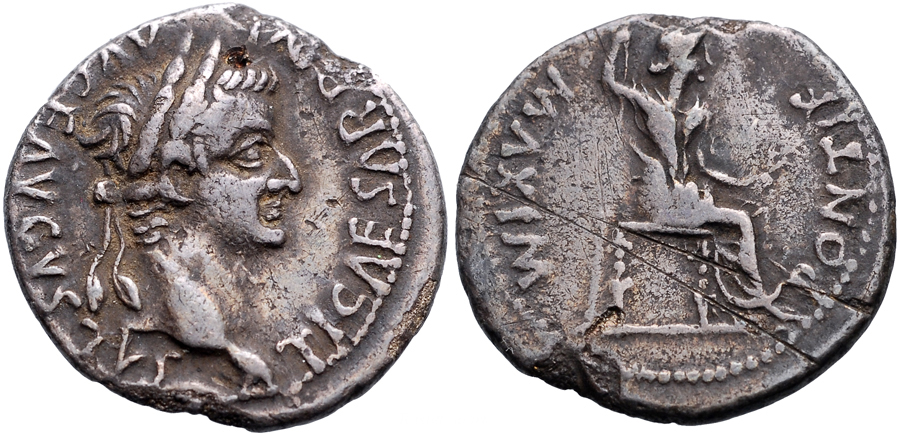 The coin most people today associate with the term 'tribute penny' and sole design of the denarius for the reign of Tiberius, 14-37 CE
