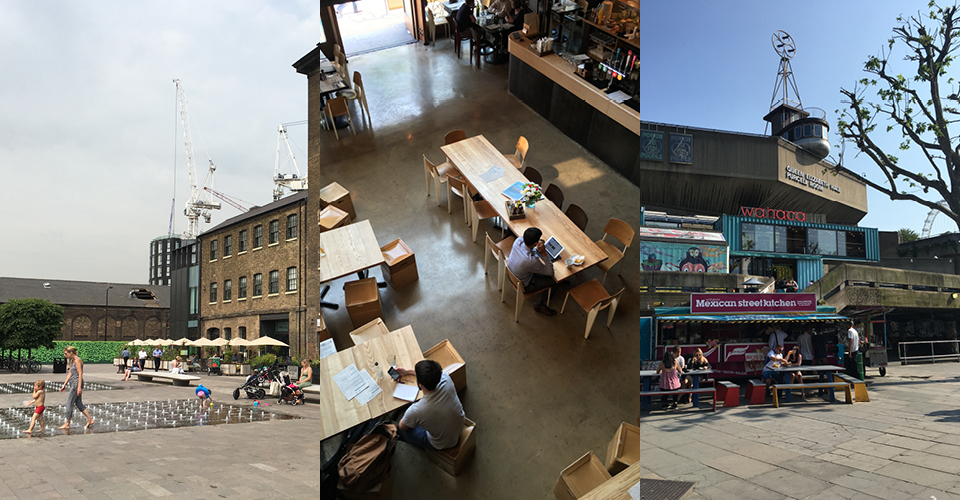 Granary Square, Kings Cross; The Cut at Young Vic Theatre; Southbank, London. Photos: Hahna Busch