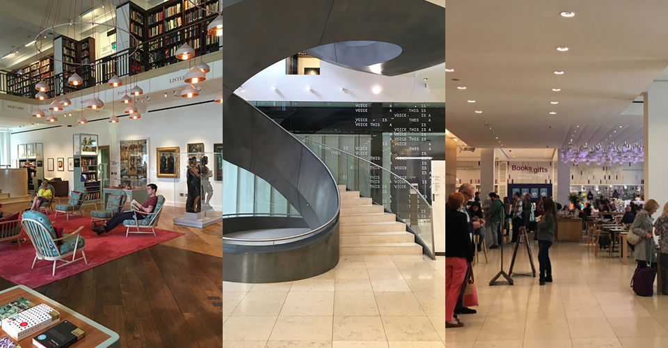 The Wellcome Collection: Reading Room, main stairway and cafe and gift shop. Photos: Hahna Busch