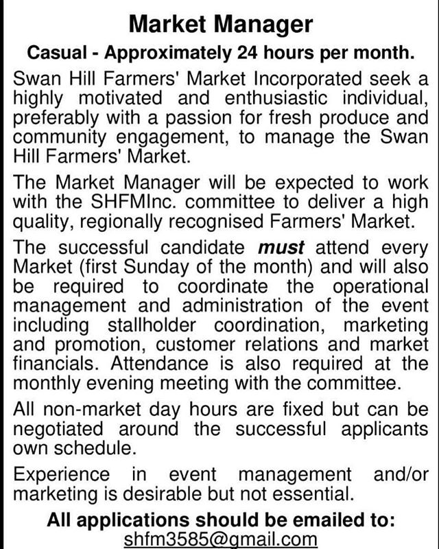 Are you looking to get involved in the market? Well this could be perfect for you!! #shfm #vfma #jointhelocalfoodrevolution #swanhill